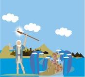 Mozes die het Rode Overzees scheidt Royalty-vrije Stock Afbeelding