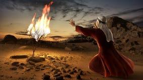 Mozes en de Brandende Struik vector illustratie