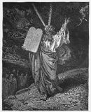 Mozes komt neer uit de berg met de tablet Royalty-vrije Stock Afbeelding