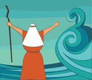 Mozes splitting the red sea and ordering let my people go out of Egypt. vector and illustration Stock Images