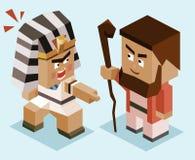 Mozes versus ramses stock illustratie
