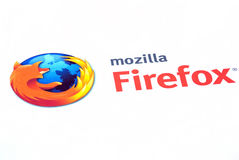 Mozilla firefox logo. Mozilla firefox browser logo on internet royalty free stock image
