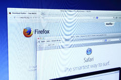 Mozilla Firefox and Safari Website Stock Image