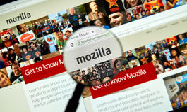 Mozilla-Webseite Stockfoto