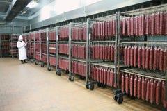 MOZYR, БЕЛАРУСЬ - 22-ое сентября 2011: Завод обработки мяса Обрабатывать свинины и говядины Машины, механизмы и оборудование стоковое фото rf