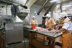 MOZYR, БЕЛАРУСЬ - 22-ое сентября 2011: Завод обработки мяса Обрабатывать свинины и говядины Машины, механизмы и оборудование стоковые изображения rf