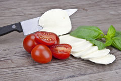 Mozzarella. Sliced ??mozzarella with sliced ??tomatoes and basil Royalty Free Stock Photos