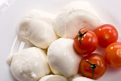Mozzarella. Food series: mozzarella (soft cheese) and tomato Stock Images