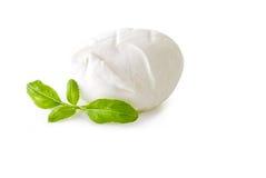 Mozzarella auf weißem Hintergrund Stockbilder