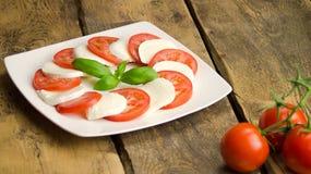 Mozzarella avec les tomates et le basilic image libre de droits