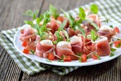Mozzarella with bacon Stock Photography