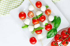 Mozzarella balls with basil, tomatos and balsamic, caprese Royalty Free Stock Images