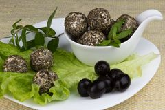 Mozzarella balls with different spices and olives Royalty Free Stock Photography