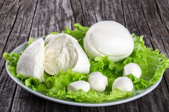 Mozzarella balls and lettuce leaves, close up Stock Images