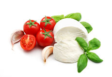 Mozzarella, basil and garlic Stock Photography