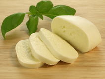 Mozzarella with basil leaf Royalty Free Stock Images