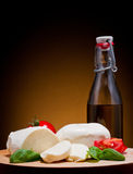 Mozzarella, basil and tomato Royalty Free Stock Images