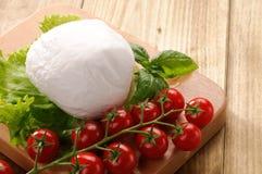 Mozzarella with basil and tomatoes Royalty Free Stock Photos