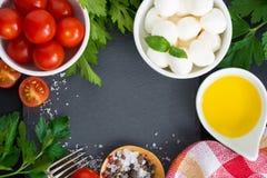 Mozzarella, Bestandteile für den Salat und schwarzer Hintergrund Lizenzfreie Stockbilder
