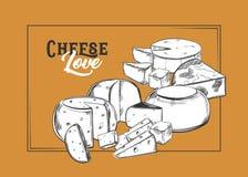 Mozzarella, bosquejo del parmesano del queso para la bandera ilustración del vector