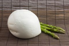 Mozzarella bufala and asparagus Stock Photography