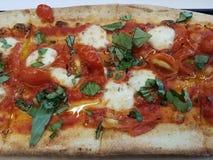 Mozzarella cheese and basil pizza with tomato. And tomato sauce royalty free stock photos