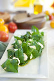 Mozzarella cheese with basil in skewers. Mozzarella cheese served with basil and olive oil on skewers, tomatoes in background Royalty Free Stock Image