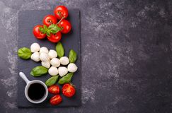 Mozzarella cheese, basil and tomato Royalty Free Stock Photography