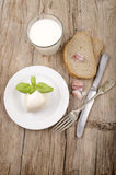 Mozzarella cheese, bread, garlic and milk Royalty Free Stock Images