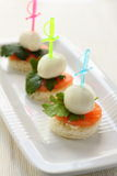 Mozzarella Cheese canape Royalty Free Stock Photos