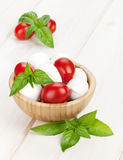 Mozzarella cheese with cherry tomatoes and basil Royalty Free Stock Photography