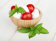 Mozzarella cheese with cherry tomatoes and basil Royalty Free Stock Photos