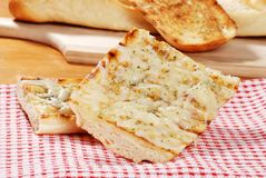Mozzarella cheese garlic bread on napkin Royalty Free Stock Photos