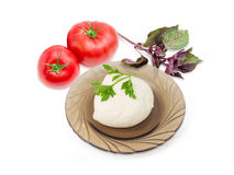 Mozzarella cheese on glass saucer, tomatoes and potherb. Ball of the fresh soaked mozzarella cheese on the dark glass saucer, tomatoes and twigs of parsley and Royalty Free Stock Images