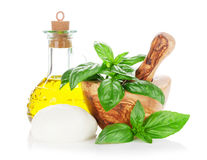 Mozzarella cheese, olive oil and basil Stock Photos
