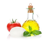Mozzarella cheese, olive oil, tomato and basil Stock Photo