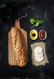 Mozzarella cheese sandwich recipe - ingredients on black Stock Photography
