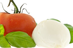Mozzarella cheese, tomato and fresh basil Stock Photos