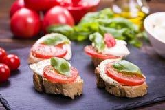 Mozzarella cheese and tomatoes Royalty Free Stock Photos