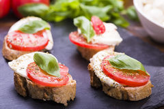 Mozzarella cheese and tomatoes Royalty Free Stock Photography