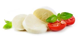 Mozzarella cheese on white background royalty free stock photos