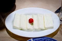 Mozzarella and cherry tomato. Served in an individual plate for aperitive Royalty Free Stock Photo
