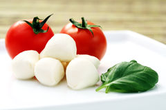 Mozzarella and cherry tomatoes Stock Photography