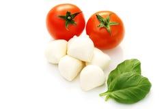 Mozzarella and cherry tomatoes Stock Images