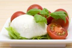 Mozzarella and cherry tomatoes Stock Photos