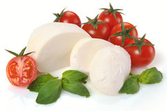 Mozzarella cherry tomatoes basil Stock Photography