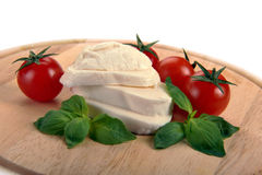 Mozzarella cherry tomatoes basil Royalty Free Stock Photography