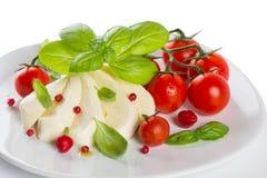 Mozzarella cherry tomatoes basil on a white plate Stock Photography