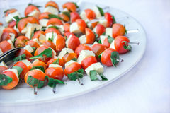 Mozzarella, cherry tomatoes and fresh basil in a plate Stock Image