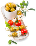 Mozzarella with cherry tomatoes and olives Royalty Free Stock Images